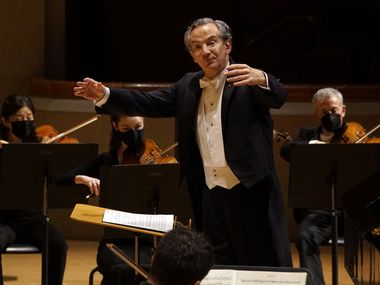 Conductor Fabio Luisi, shown directing the Dallas Symphony Orchestra April 1, 2021, will oversee the collaboration of the DSO and New York's Metropolitan Opera Orchestra later this month.