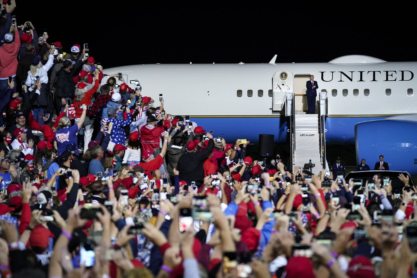 President Donald Trump arrives for a campaign rally at Newport News/Williamsburg International Airport on Sept. 25, 2020 in Newport News, Va.