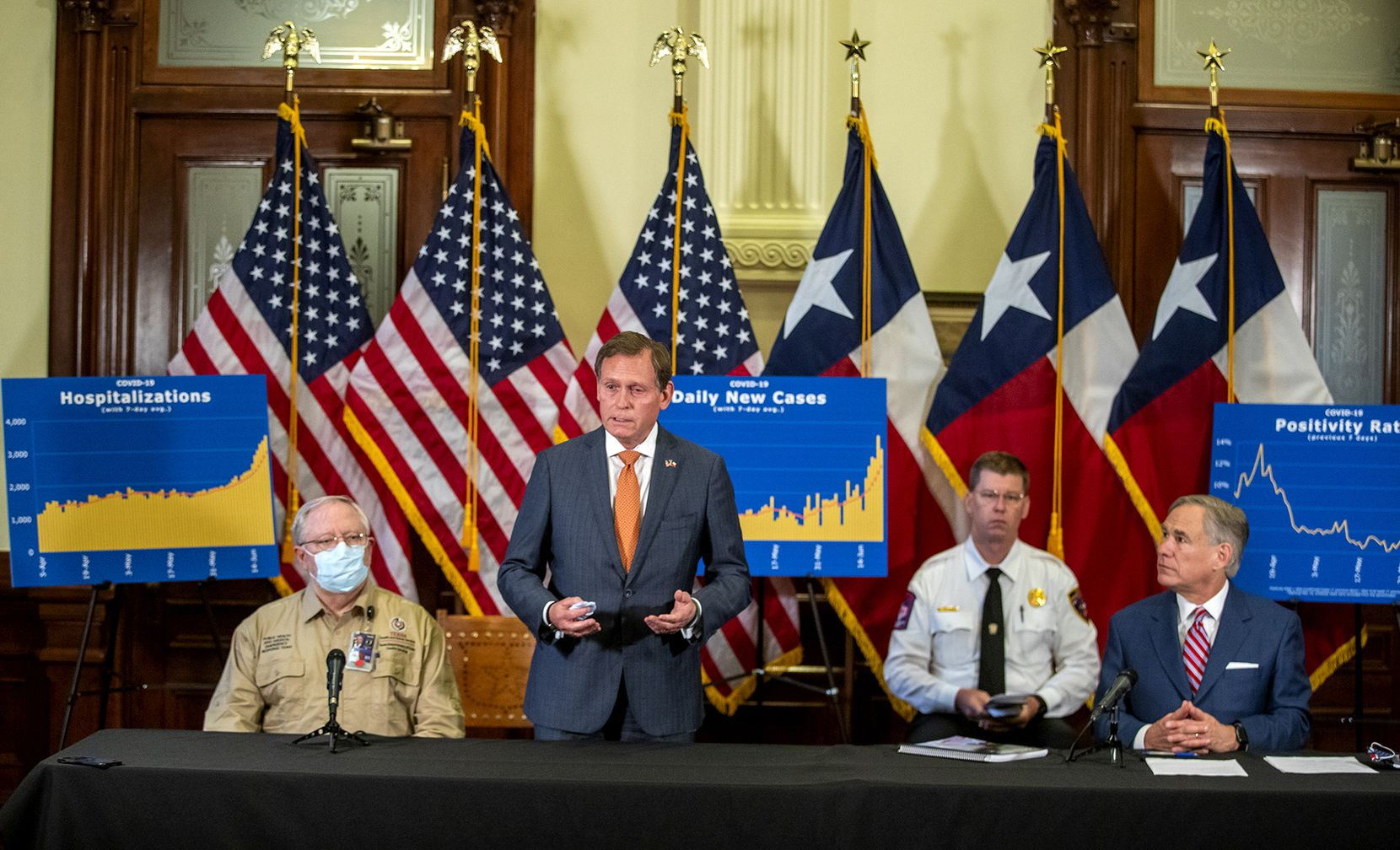 Dr. John Zerwas, a former state representative, answered questions June 22 from the media during an update on COVID-19. Seated from left are Dr. John William Hellerstedt, Department of State Health Services; Nim Kidd, chief of the Texas Division of Emergency Management; and Gov. Greg Abbott.