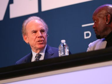 Former Dallas Cowboys quarterback Roger Staubach speaks alongside former Dallas Cowboys running back Emmitt Smith during a panel discussion at the Dallas Regional Chamber's annual luncheon at the Hilton Anatole in Dallas on Thursday, Jan. 18, 2018. (Rose Baca/The Dallas Morning News)