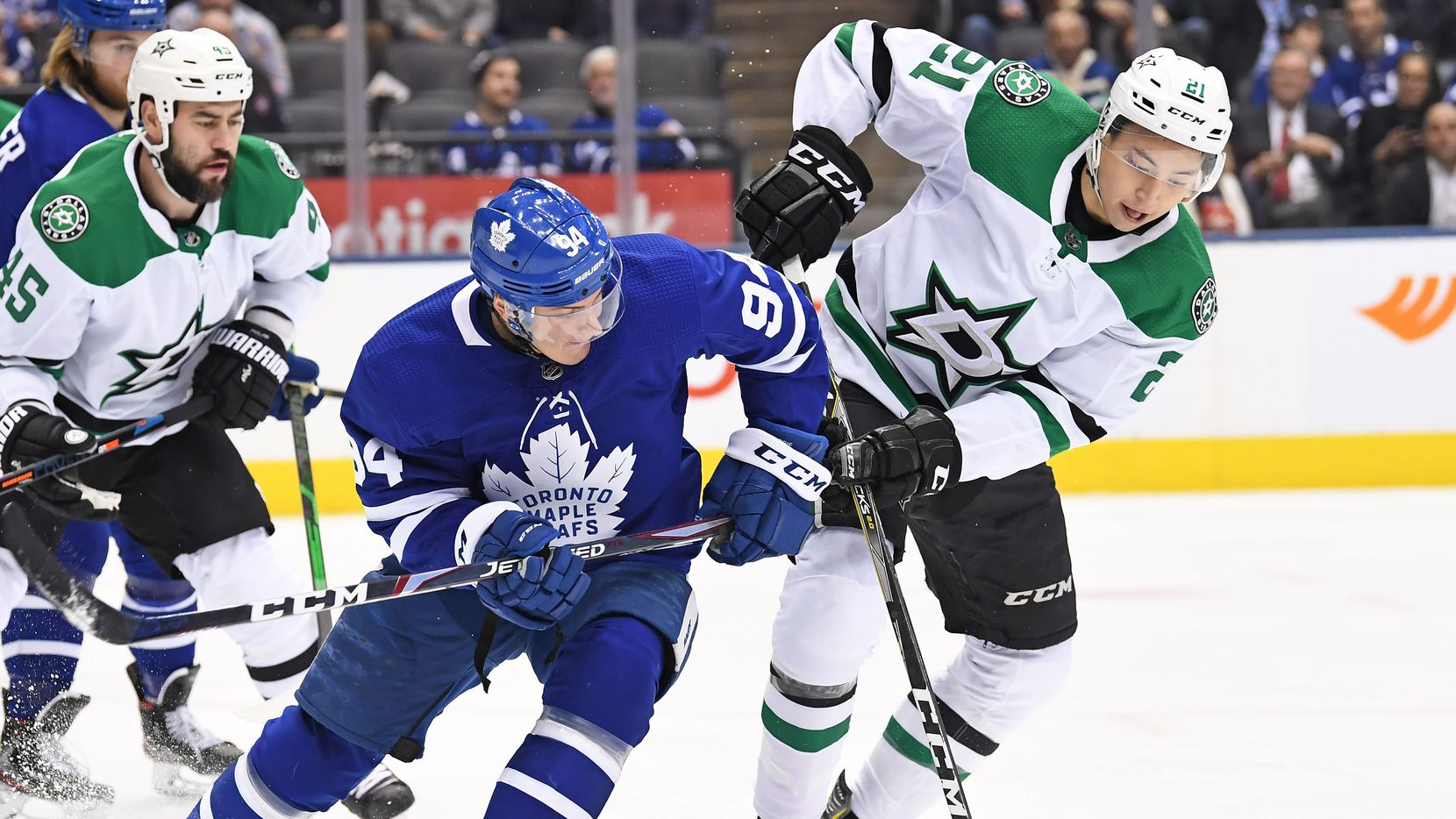 Dallas Stars Left Wing Jason Robertson (21, right) is defended by Toronto Maple Leafs Defenceman Tyson Barrie (94) in the first period during the regular season NHL game between the Dallas Stars and Toronto Maple Leafs on February 13, 2020 at Scotiabank Arena in Toronto, ON.