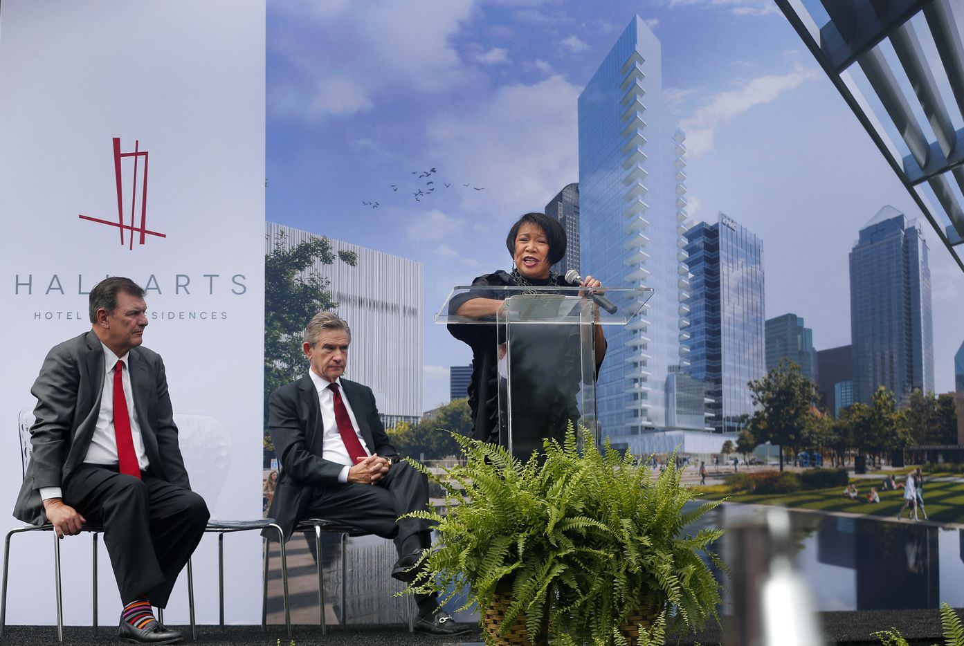 Dallas Arts District executive director Lily Weiss speaks during the groundbreaking ceremony for Hall Arts Hotel and Residences.