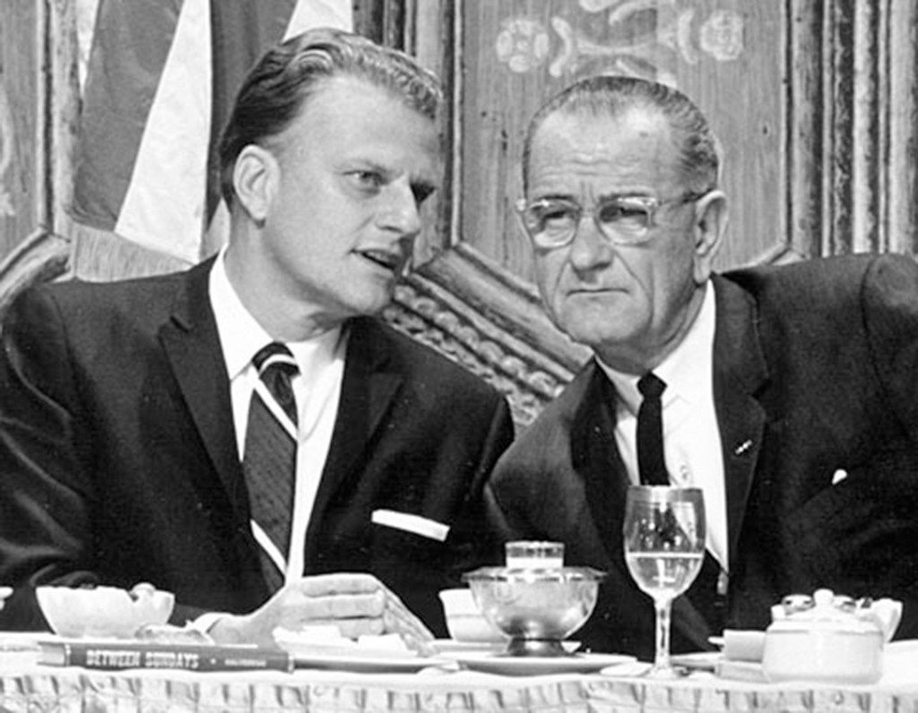 Billy Graham with President Lyndon B. Johnson in an undated photo.