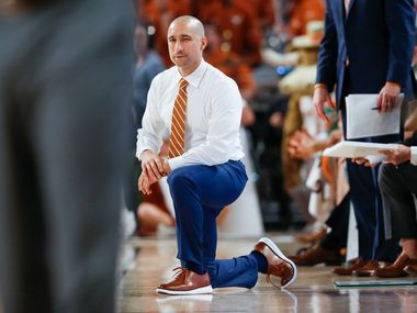 Texas Longhorns head coach Shaka Smart works the sideline during the second half of a basketball matchup between the Texas Longhorns and Texas A&M Aggies in the Lone Star Showdown on Sunday, Dec. 8, 2019 at Dickies Arena in Fort Worth, Texas.