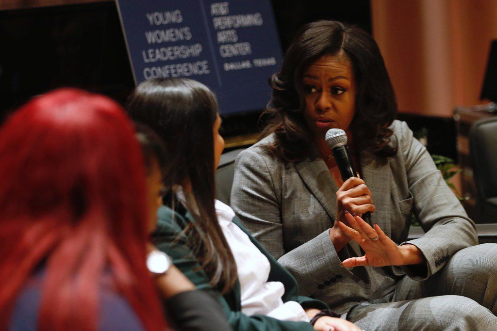 Former First Lady Michelle Obama speaks to students from Dallas High Schools during the first annual Young Women's Leadership Conference at Winspear Opera House in Dallas.
