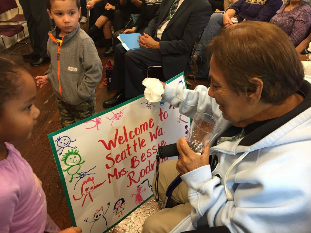 Children at Centro de la Raza in Seattle greeted Bessie Rodriguez of Dallas during her visit on Nov. 2, 2015, to Santos Rodriguez Memorial Park. Rodriguez traveled to Seattle to visit the park, which was named in memory of her son.