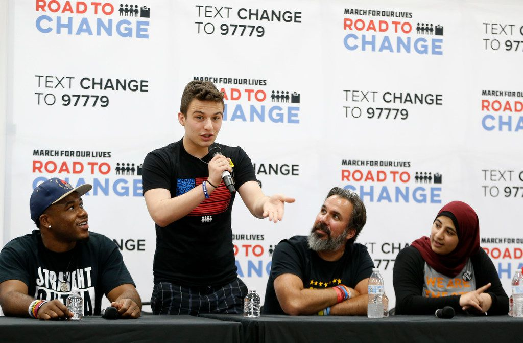 Cameron Kasky speaks during a panel with students from Stoneman Douglas High School of Parkland, Fla., at Paul Quinn College in Dallas on July 7, 2018.