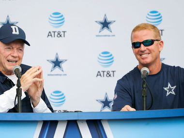 Dallas Cowboys owner and general manager Jerry Jones answers questions as Dallas Cowboys head coach Jason Garrett listens during a press conference in Oxnard, California on Sunday, July 23, 2017. Dallas Cowboys training camp begins on Monday. (Vernon Bryant/The Dallas Morning News)