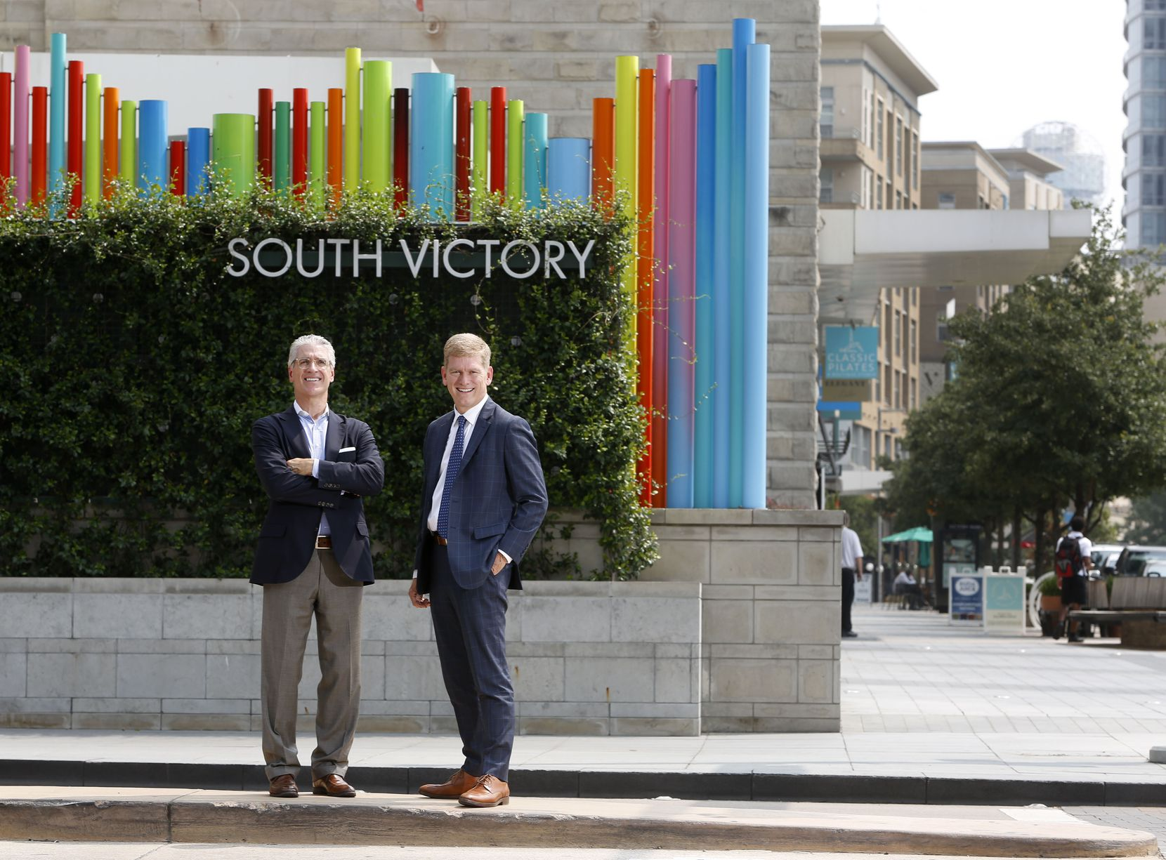 Trademark Property CEO Terry Montesi (left) and Victory Park vice president Lance Fair have been working together on the project since 2012.