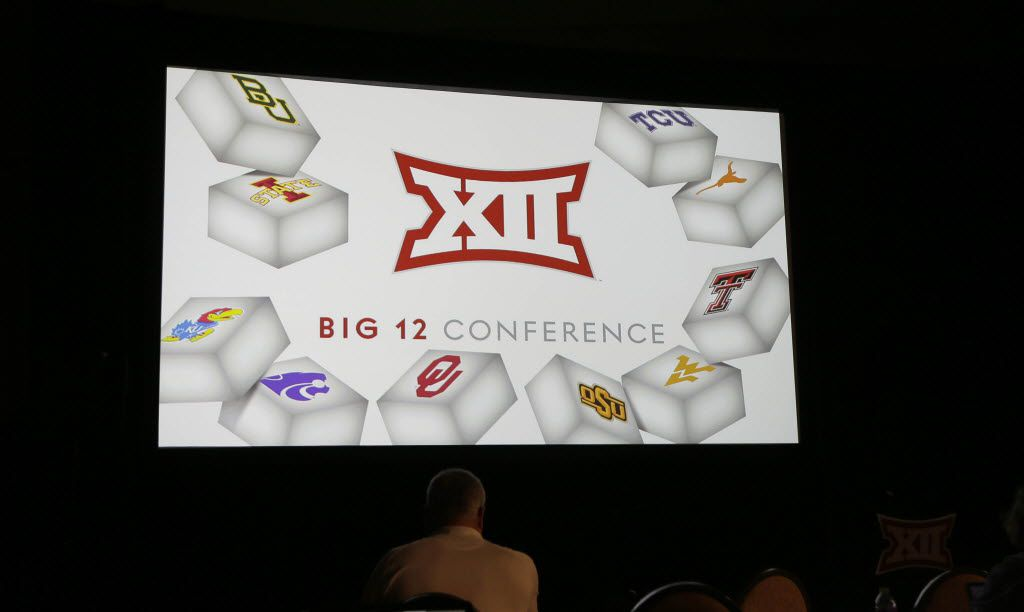 The Big 12 logo is shown during the Big 12 college football media days in Dallas, Tuesday, July 19, 2016. (AP Photo/LM Otero)