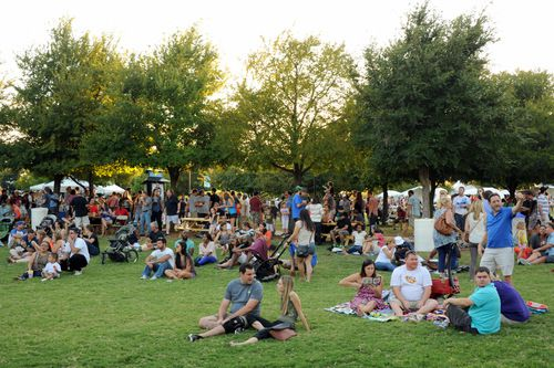 Friends and families enjoy music and beer at Oktoberfest in Addison Circle Park in Addison, TX on September 19, 2015. (Alexandra Olivia/ Special Contributor)