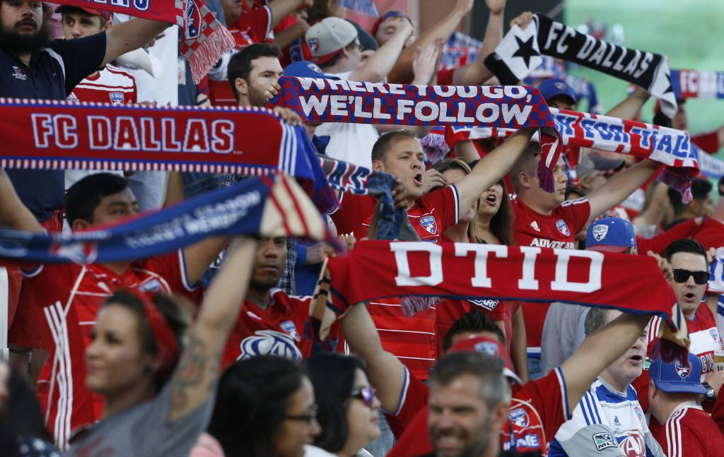 FC Dallas fans celebrate before a game at Toyota Stadium in May.
