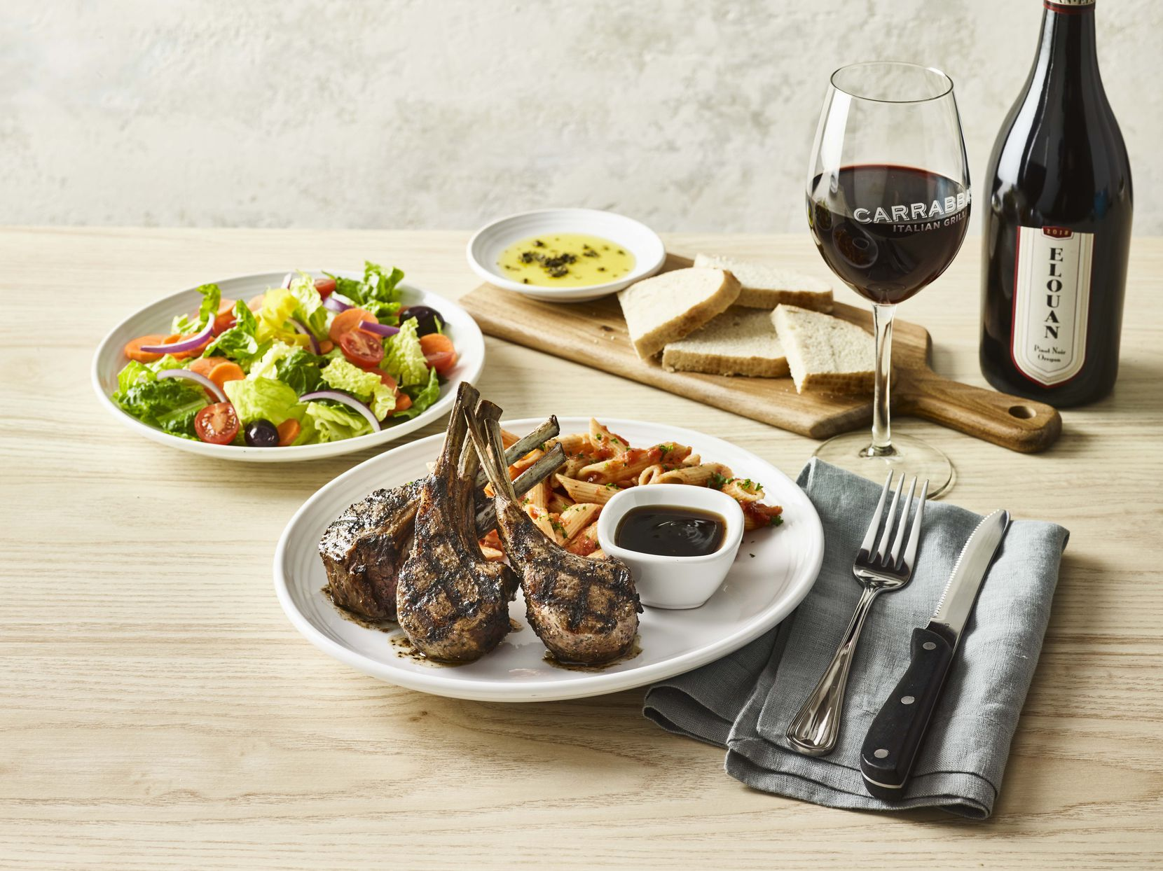 Carrabba's Italian Grille offer Tuscan-grilled lamb chops prepared with a signature grill baste, olive oil and herbs and a mint bourbon demi-glace as part of its Easter offerings this year.