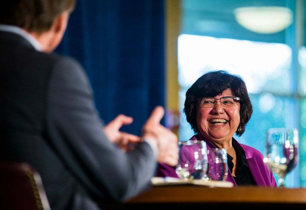 Gubernatorial candidates Andrew White and Lupe Valdez debated Friday at St. James Episcopal Church in Austin. (Ashley Landis/The Dallas Morning News)