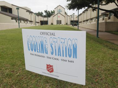 A sign outside the Carr P. Collins Center on Harry Hines Boulevard in Dallas let heat-weary folks know last year that a cooling station was available.