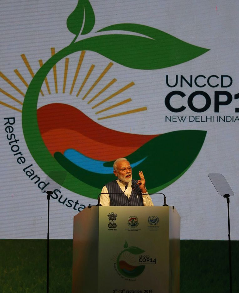Indian Prime Minister Narendra Modi speaks during the opening ceremony of the 14th Session of the Conference of the Parties (COP14) to United Nations Convention to Combat Desertification  in Greater Noida, India, Monday, Sept. 9, 2019. (AP Photo/Altaf Qadri)