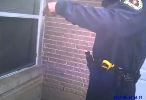 A screenshot from the body-worn camera video showing Dallas police fatally shooting a mental patient.