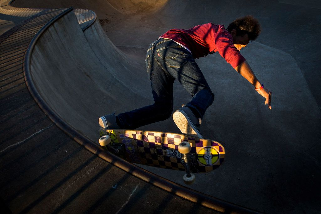 Solo Johnson skateboards at Lively Pointe Skate Park on Sunday, Jan. 22, 2017, in Irving. (Smiley N. Pool/The Dallas Morning News)