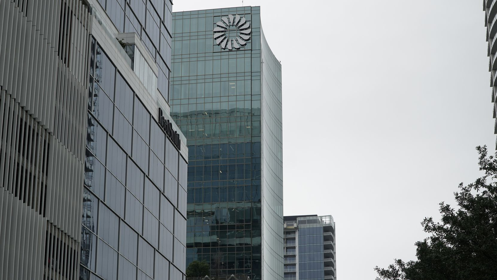 Frost Bank's logo is displayed on the side of this tower at 2950 N. Harwood Street in downtown Dallas.