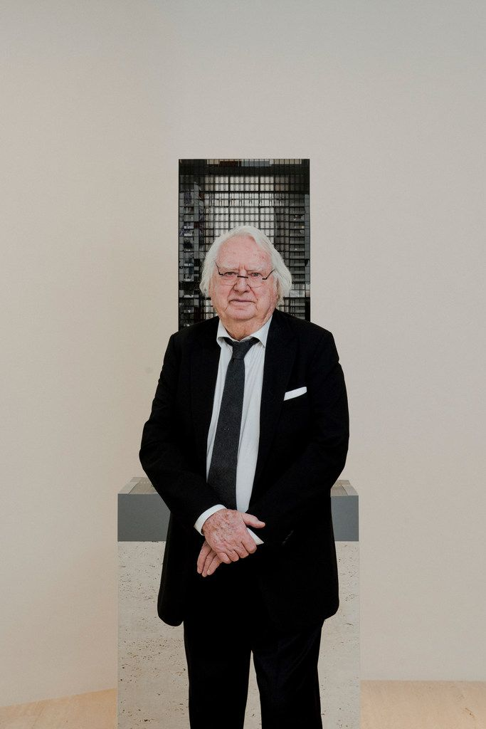 Richard Meier with a model for a residential tower in Manhattan, March 8, 2018.