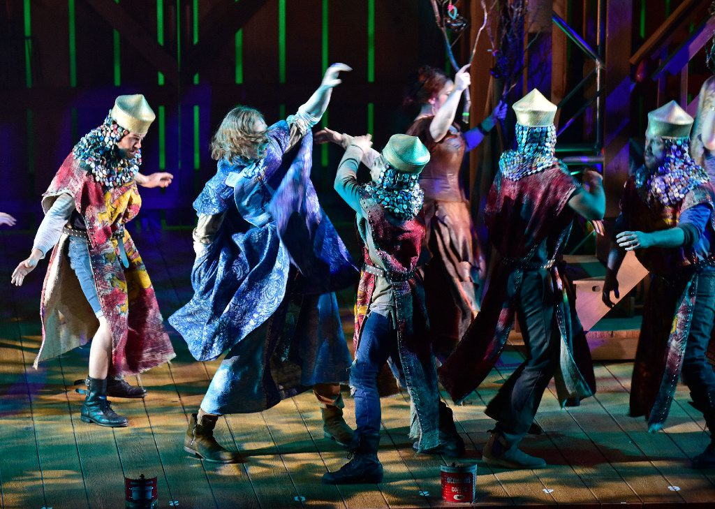 Robin is played by Nick Bailey (left) in Hood, The Robin Hood Musical Adventure, a Dallas Theater Center world premiere at  the Wyly Theatre in Dallas.