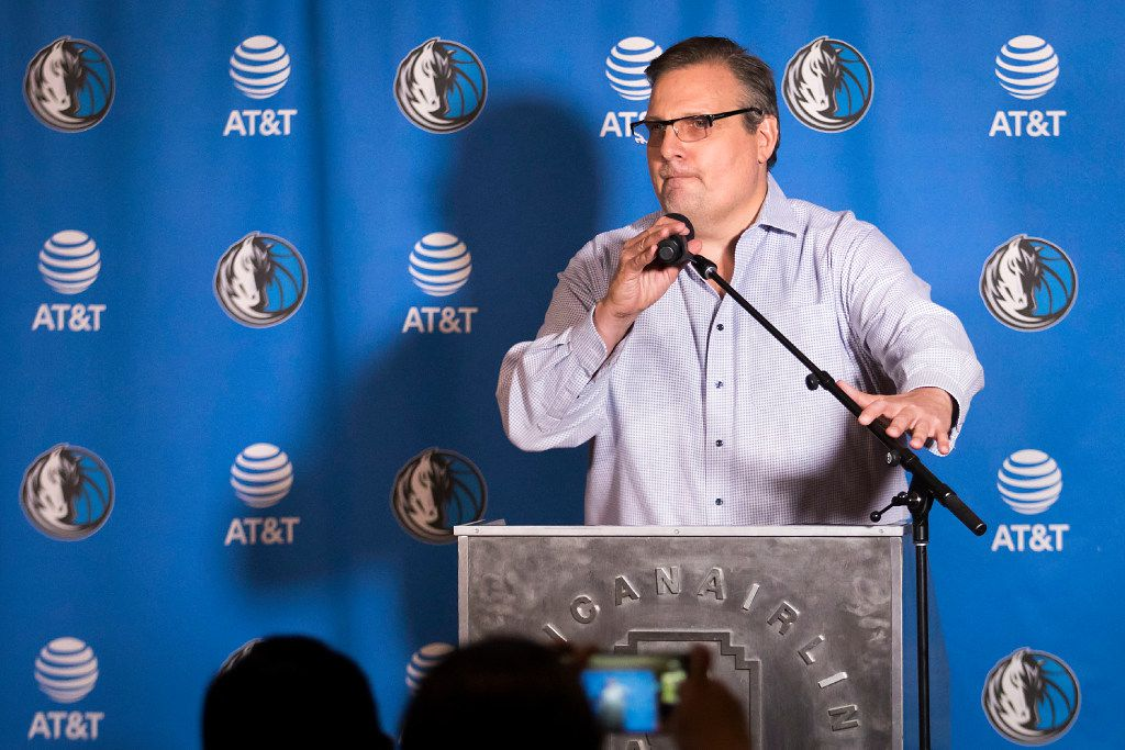 Dallas Mavericks President of Basketball Operations & General Manager Donnie Nelson addresses the media during the 2017 NBA Draft at American Airlines Center on Thursday,June 22, 2017, in Dallas.  (Smiley N. Pool/The Dallas Morning News)