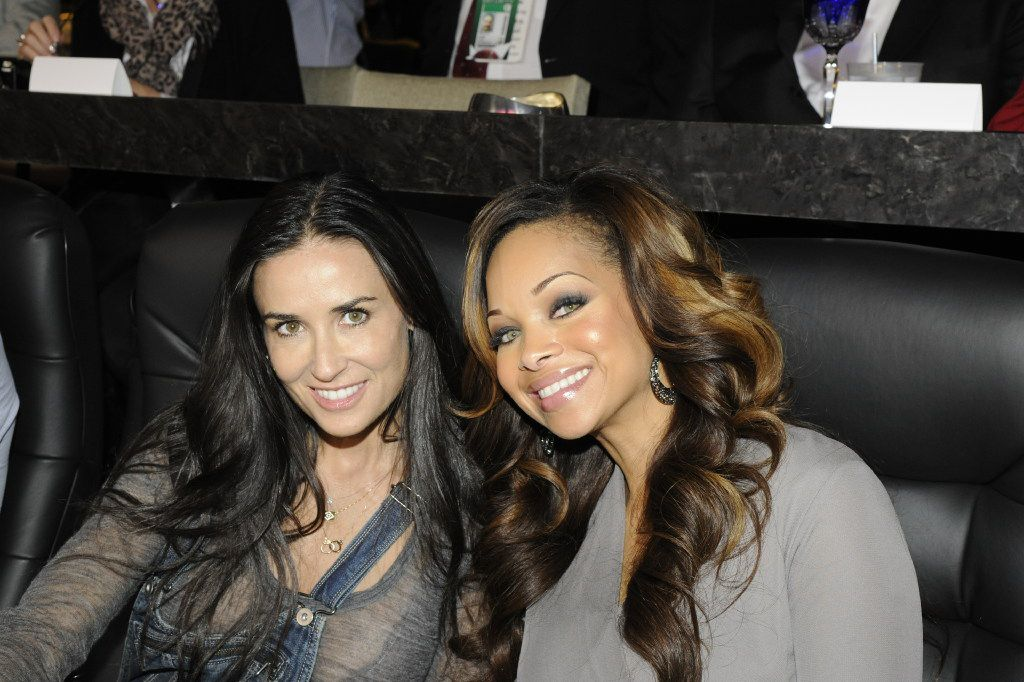 Actress Demi Moore and Pat Smith, wife of former Dallas Cowboy Emmitt Smith, in the Jerry Jones suite at Super Bowl XLV on Feb. 6, 2011. (Photo is property of the Dallas Cowboys. Permission to publish required.)