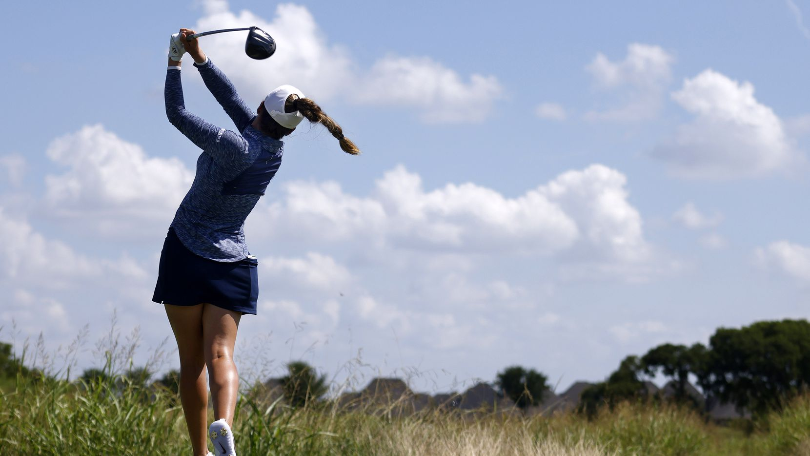 Professional golfer Gaby Lopez follows through on her drive on No. 1 during the opening round of the LPGA VOA Classic at the Old American Golf Club in The Colony, Texas, Thursday, July 1, 2021.