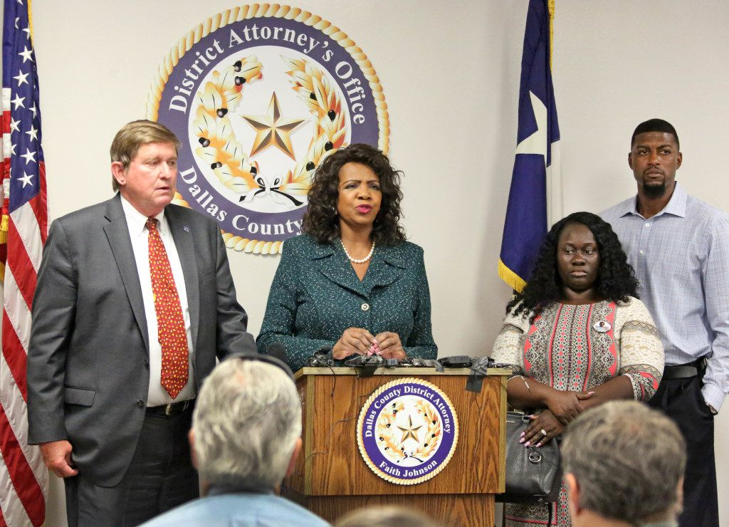 Jordan Edwards' stepmother Charmaine Edwards and father Odell Edwards, at right, listen as Dallas County District Attorney Faith Johnson announces that a grand jury indicted fired Balch Springs officer Roy Oliver at on a murder charge for Jordan's death and four additional charges of aggravated assault with a deadly weapon by a public servant. The news conference was held Monday, July 17 at the Frank Crowley Courts Building in Dallas. Jordan Edwards was killed in the April 29 in Balch Springs. Also pictured is First Assistant District Attorney First Assistant Mike Snipes.
