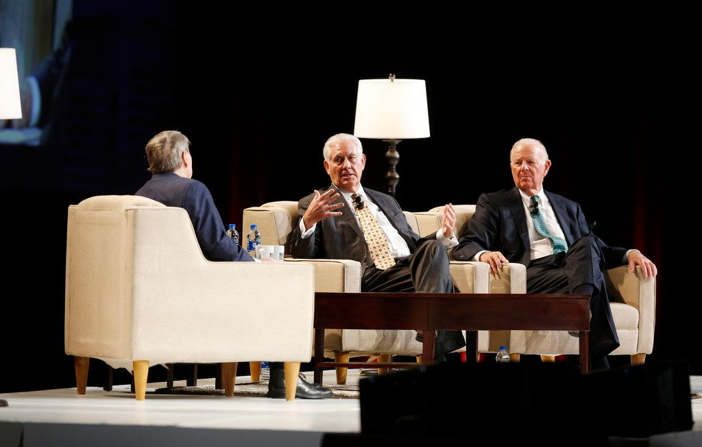 Jim Lehrer  (left) interviewed former Secretaries of State Rex Tillerson (center) and James Baker on Tuesday during a Dallas Citizens Council meeting.