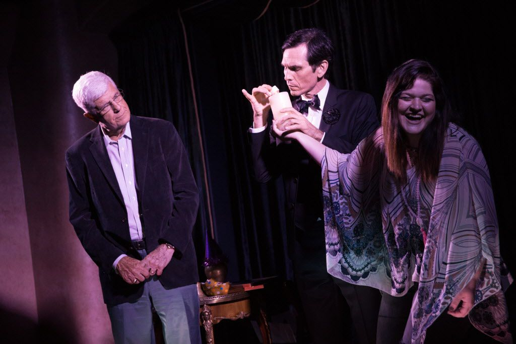 Former Dallas Mavericks head coach Del Harris, and daughter of Frisco Mayor Maher Maso, Layna Maso participates on stage in a performance with magician Rob Zabrecky at the Peacock Theater, a small community arts and magic theater attached to the home of Gearbox Software President and CEO Randy Pitchford, on May 29 in Frisco.