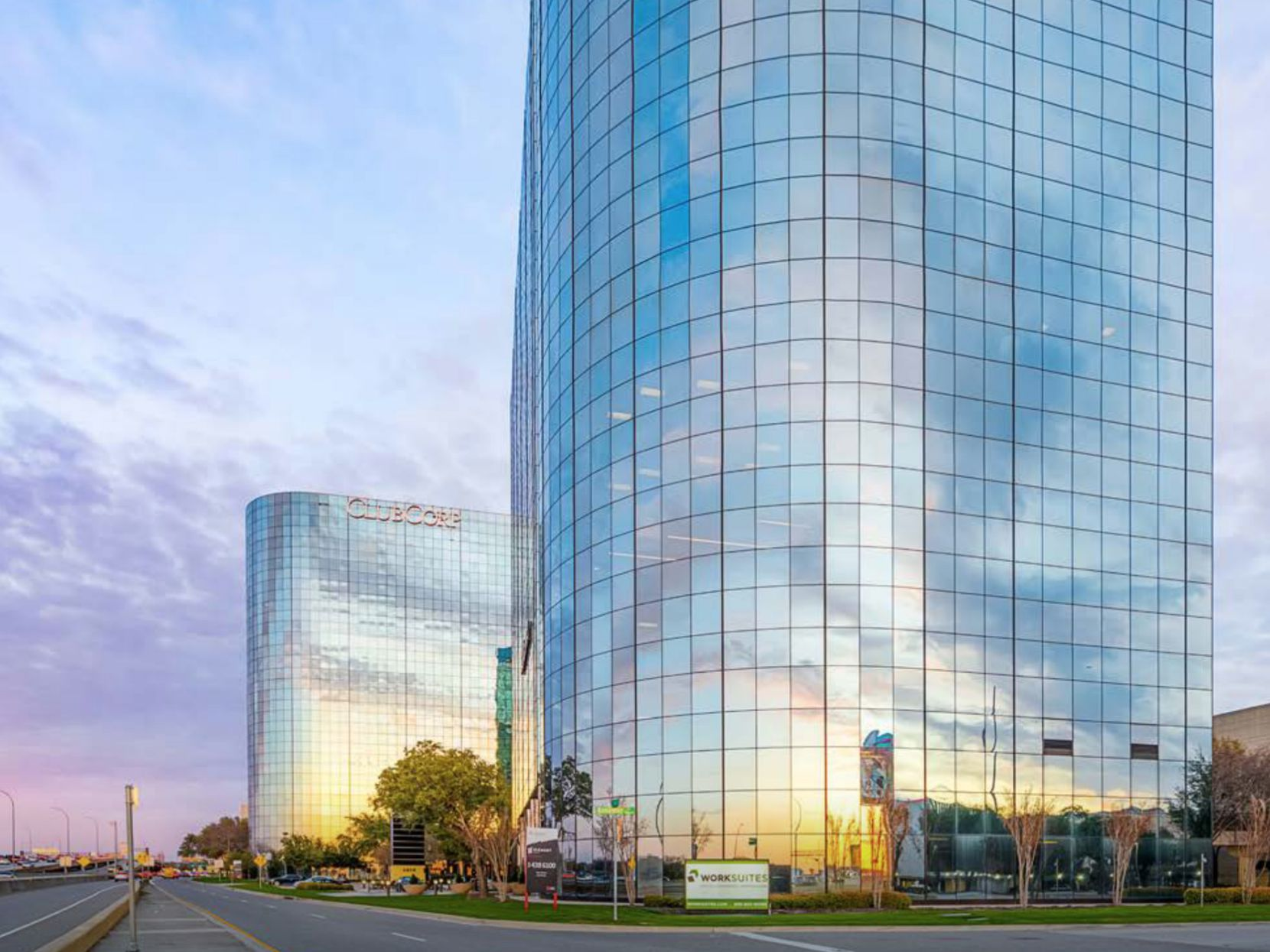The two Element office towers on LBJ Freeway in North Dallas are being marketed for sale by Newmark Group.