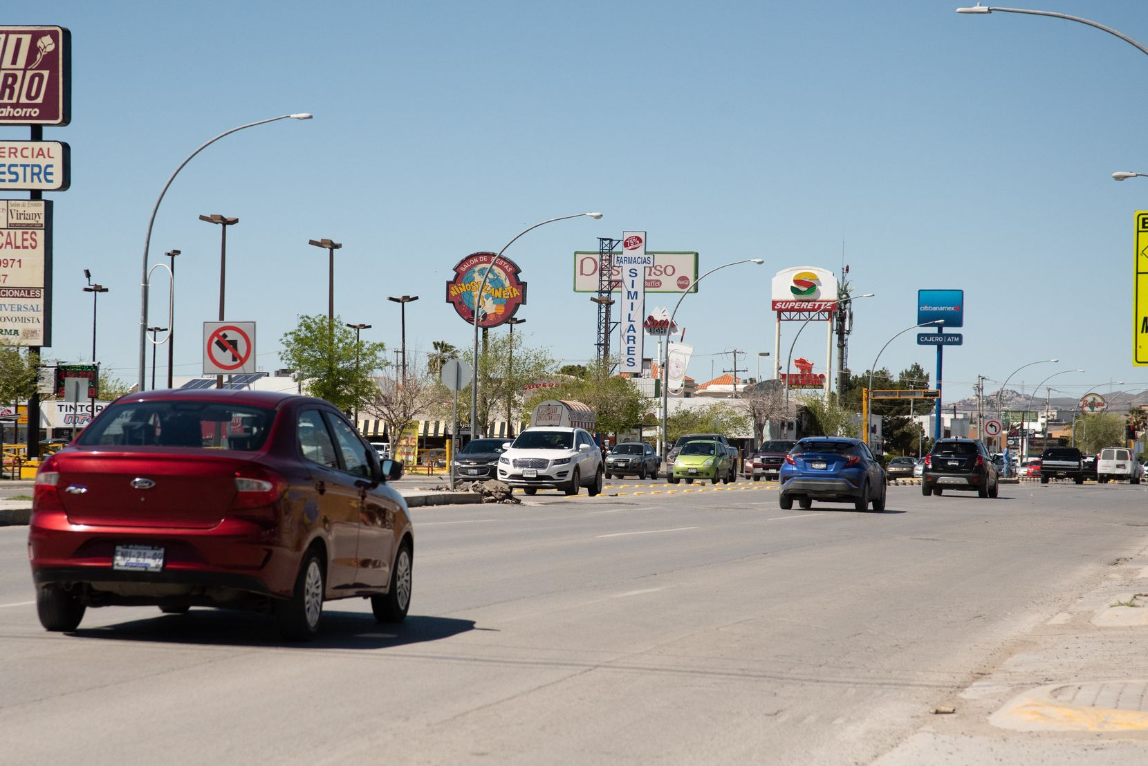 Traffic in Juarez continues to flow on March 26, 2020,  despite the local government's recent warnings to only go out when necessary in order to slow the spread of coronavirus.