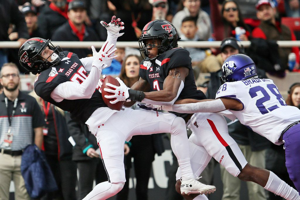 Texas Tech's Dalton Rigdon (86) catches a pass during the first half of an NCAA college football game against TCU, Saturday, Nov. 16, 2019, in Lubbock, Texas.