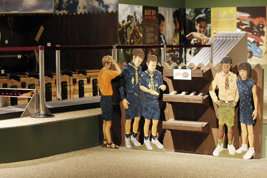 Visitors can race pinewood derby cars on a   six-lane track at the Boys Scouts of America National Scouting Museum in Irving. (Brandon Wade/Special Contributor)