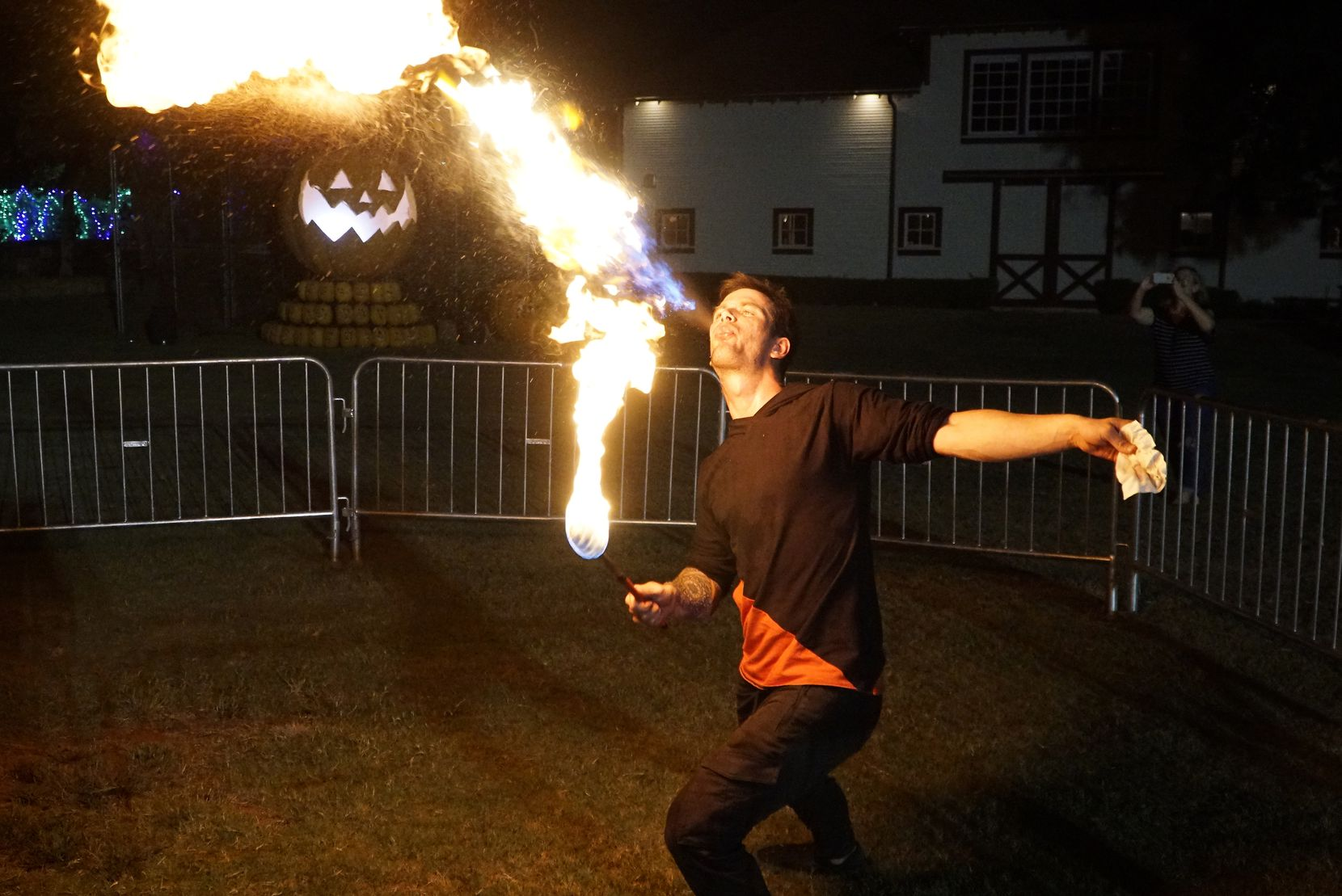 Fire Performer Collin Deleon performs at Pumpkin Nights in Arlington, Texas on Wednesday, October 9, 2019.
