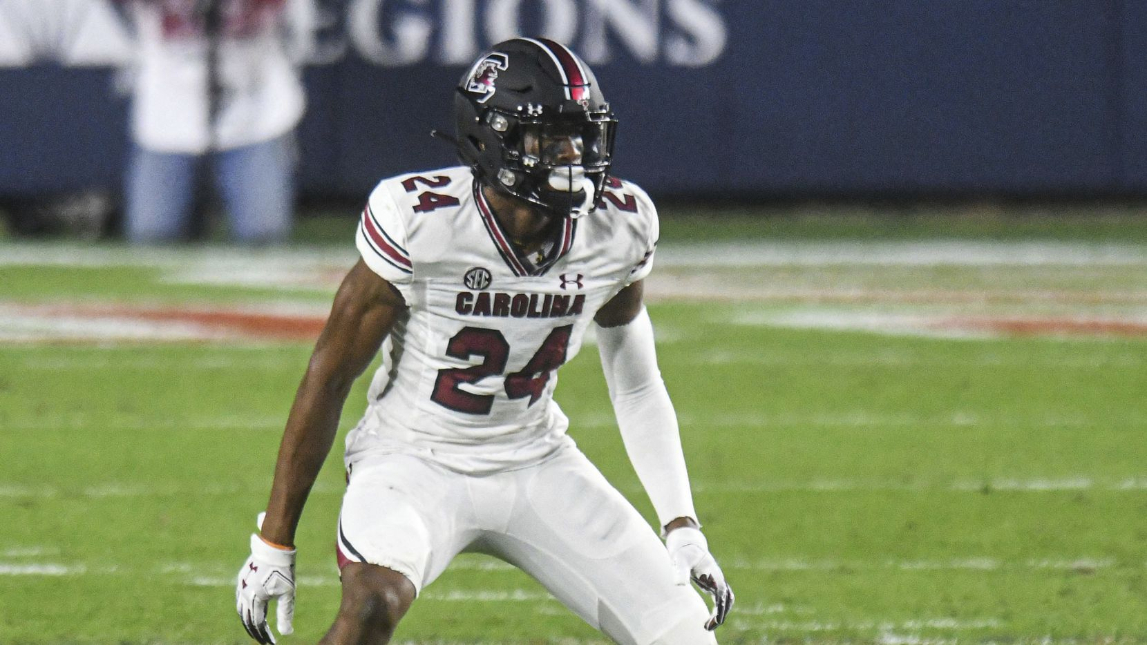 South Carolina defensive back Israel Mukuamu (24) plays against Mississippi in the first half in an NCAA college football game, in Oxford, Miss., Saturday, Nov. 14, 2020. Mississippi won 59-42.