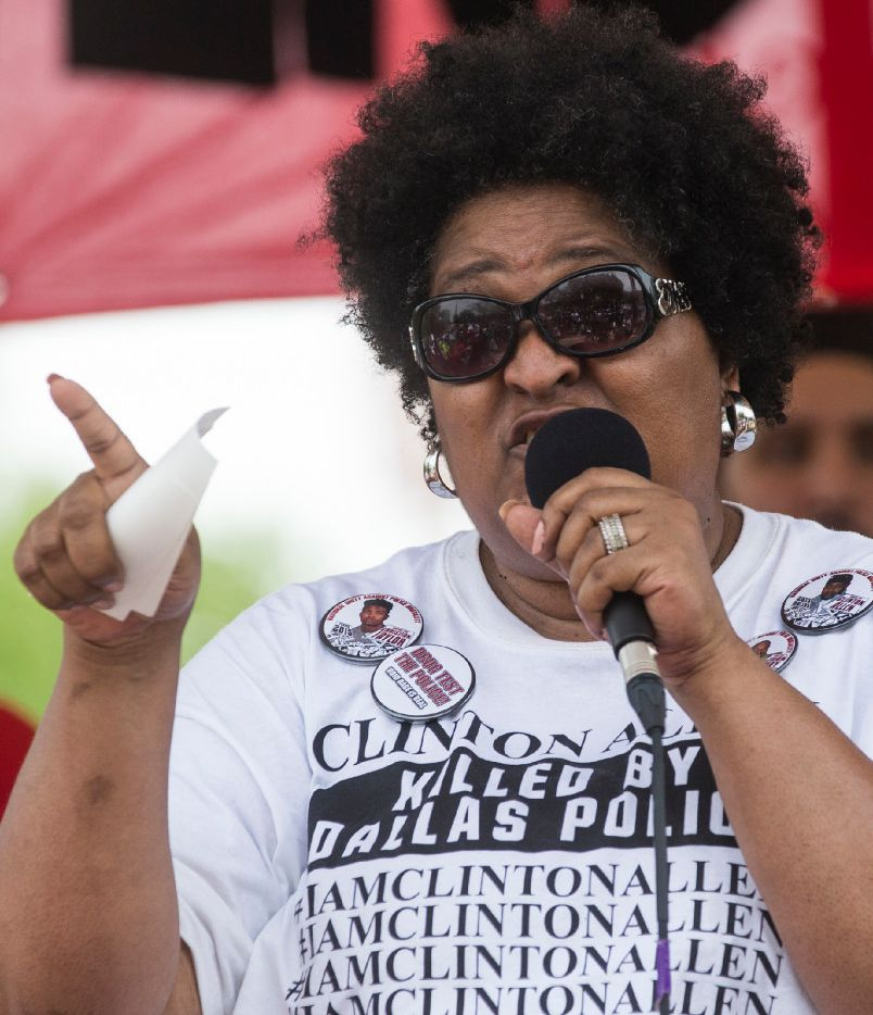 "Collette Flanagan speaks at a rally in Pike Park following the ""March to End Police Brutality"" in June."