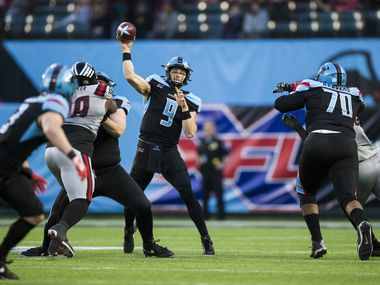 Dallas Renegades quarterback Philip Nelson (9) throws a pass during the third quarter of an XFL game between the Dallas Renegades and the New York Guardians on Saturday, March 7, 2020 at Globe Life Park in Arlington.