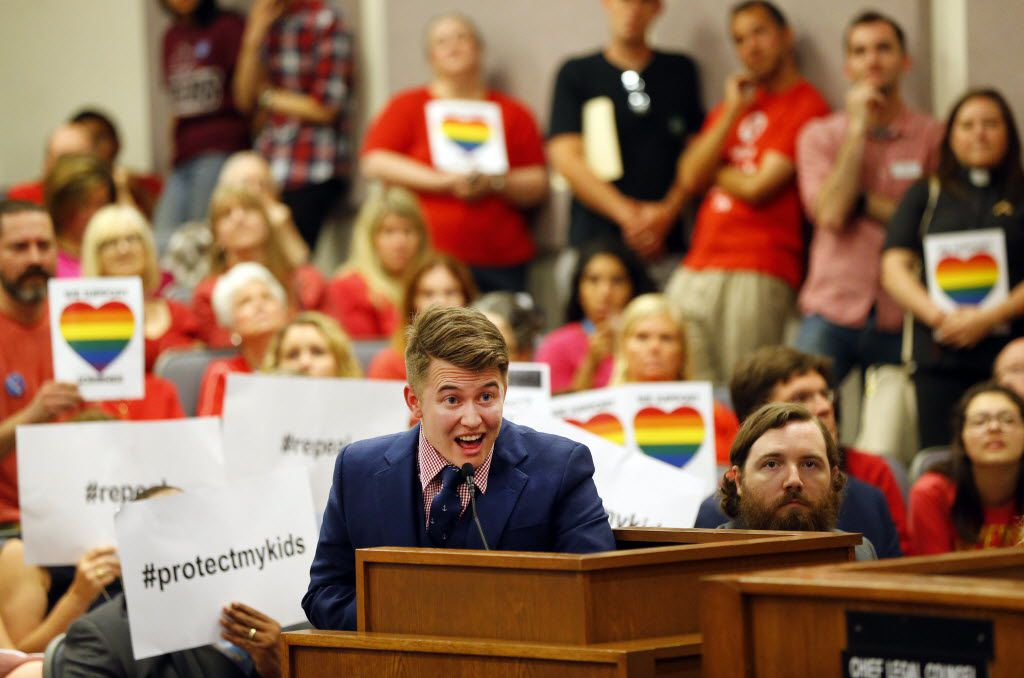 Dallas ISD teacher Jeannot Boucher voiced concerns to the Fort Worth ISD board during its open meeting on a transgender restroom use policy in May. Boucher, a former Dallas teacher of the year, said he's been able to work as a transgender man because of nondiscrimination polices that protect him, as this policy protects students.