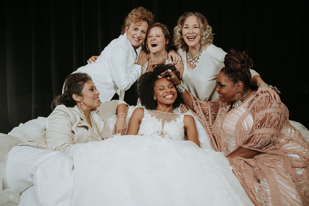 The cast of Dallas Theater Center's production of Steel Magnolias: (top row, from left) Nance Williamson, Ana Hagedorn, Sally Nystuen Vahle, (bottom row, from left) Christie Vela, Tiana Kaye Blair and Liz Mikel.