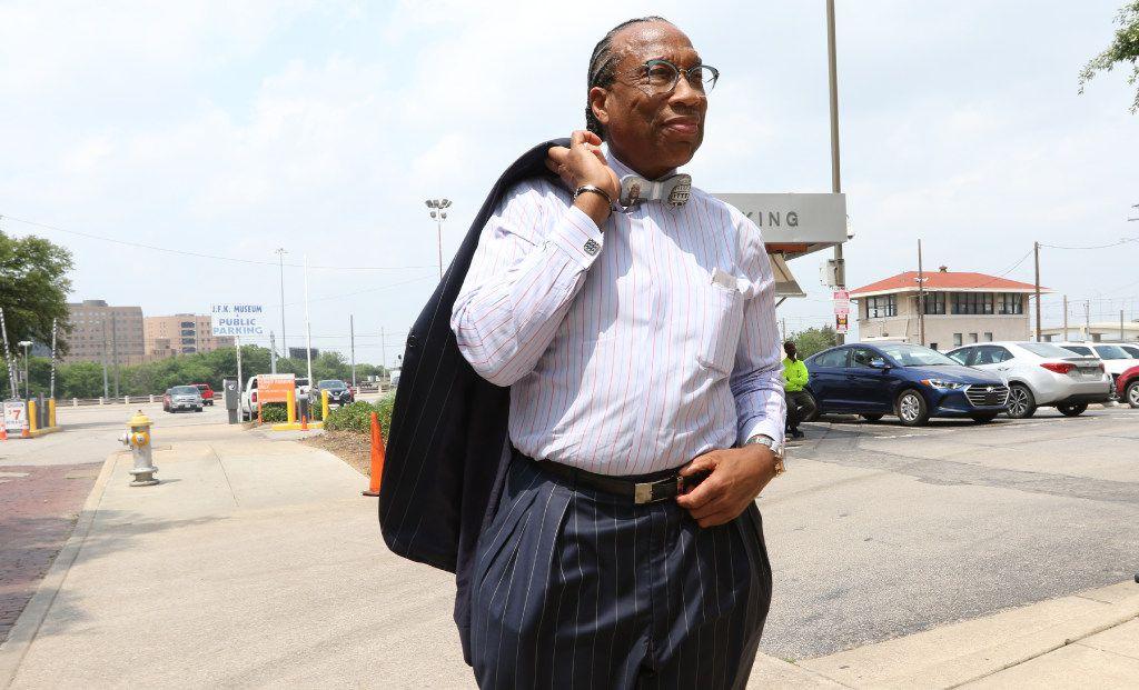 Dallas County Commissioner John Wiley Price looks downtown Dallas before leaving his office for a funeral on April 29 in Dallas.