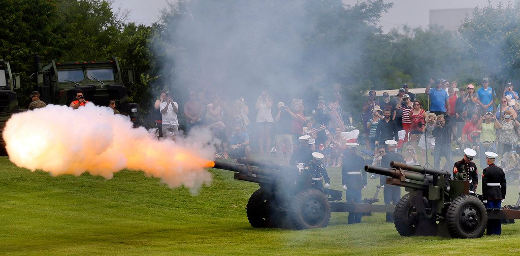 The 2nd Battalion, 14th Marines reserve artillery battalion from the Naval Air Station Joint Reserve Base Fort Worth fired a 21-gun salute during the ceremony.