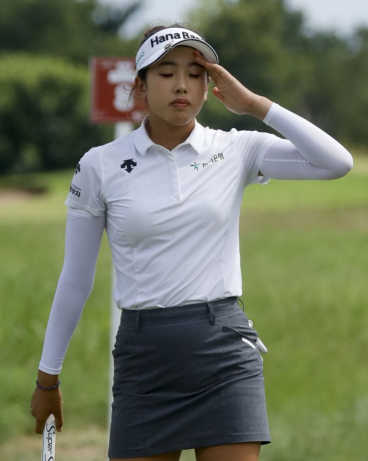 Professional golfer Yealimi Noh reacts after missing a put on the No. 8 green during the second round of the LPGA VOA Classic on Friday, July 2, 2021, in The Colony, Texas. (Elias Valverde II/The Dallas Morning News)
