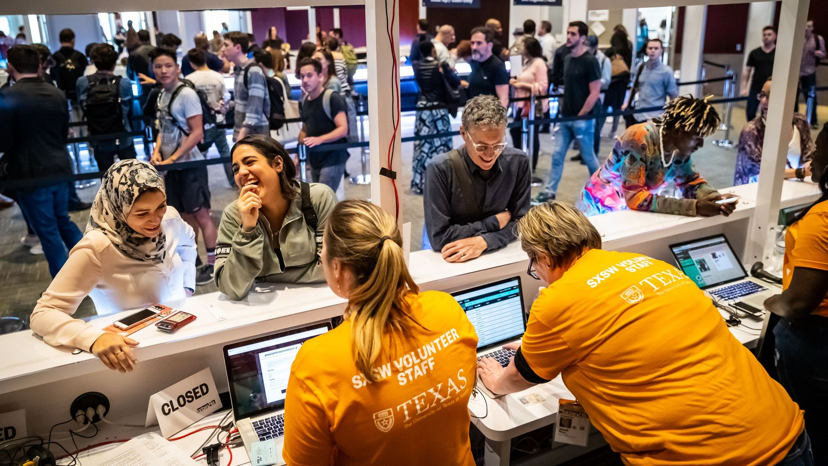 Attendees register at the 2019 South by Southwest festival in Austin, Texas.