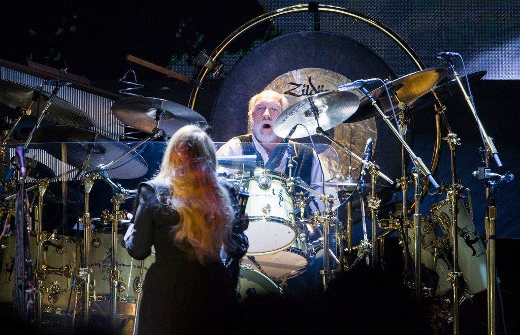 """Fleetwood Mac singer Stevie Nicks and drummer Mick Fleetwood perform """"Little Lies."""""""