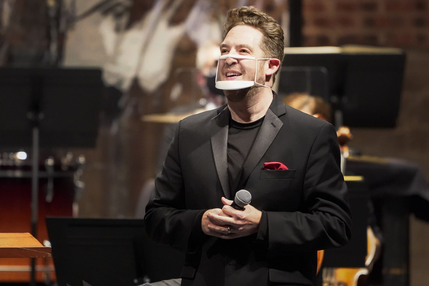 Guest conductor Brett Mitchell speaks to the audience before the Fort Worth Symphony concert at the Will Rogers Auditorium on Friday, Oct. 30, 2020, in Fort Worth.