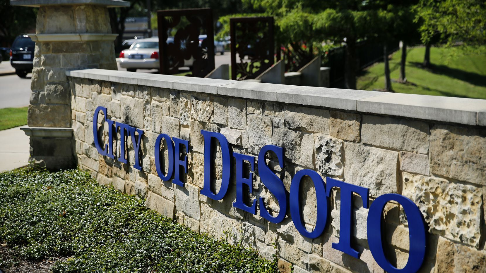 The City of DeSoto welcome sign at E. Pleasant Run Rd. and Hampton Rd. in DeSoto, Texas, Wednesday, June 24, 2020.