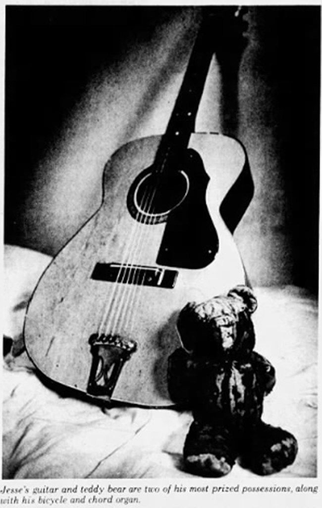The Teddy Bear and guitar that belonged to Jesse Daniels, featured in Beneath a Ruthless Sun.