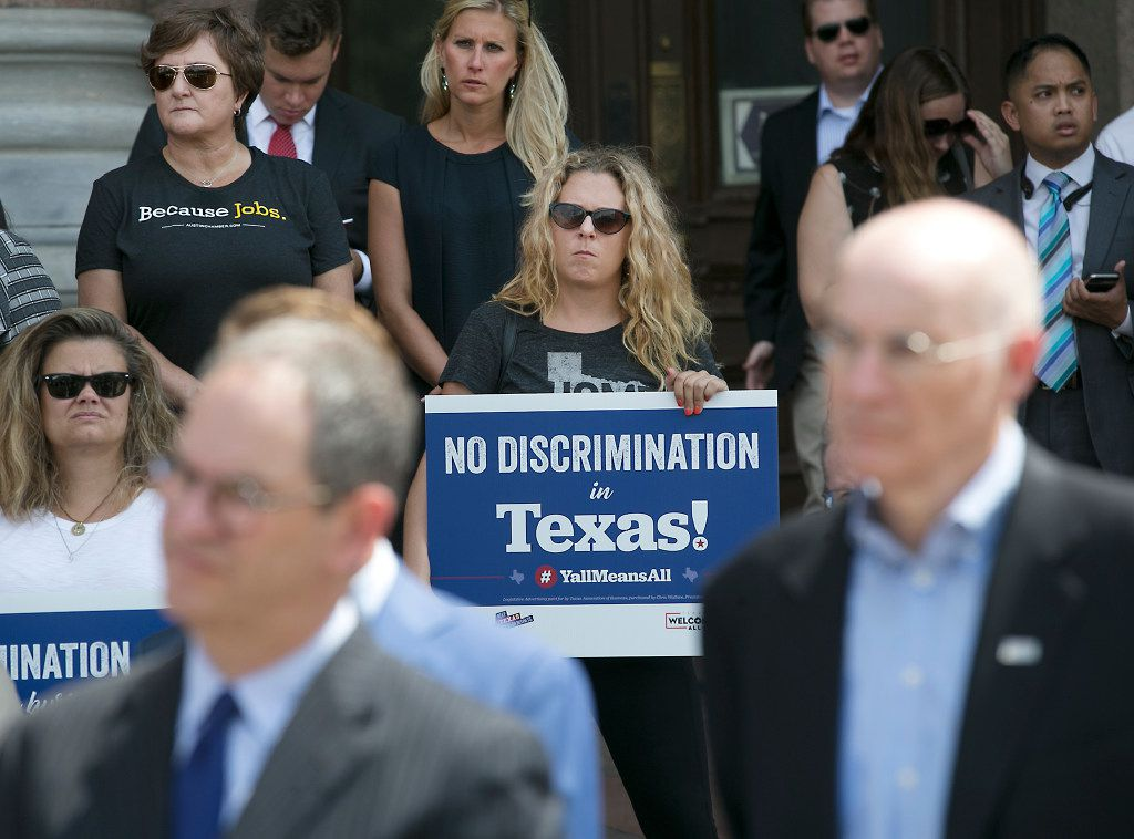 Texas business and tourism representatives gathered on the south steps of the state capitol on Monday to urge lawmakers not to approve bills to regulate transgender bathroom access. They contend such laws would be discriminatory and could have a negative impact on the state's economy.